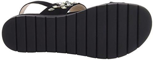 La Strada Black Suede Leather Look Sandal, Sandales ouvertes femme Noir - Schwarz (2201 - micro black)