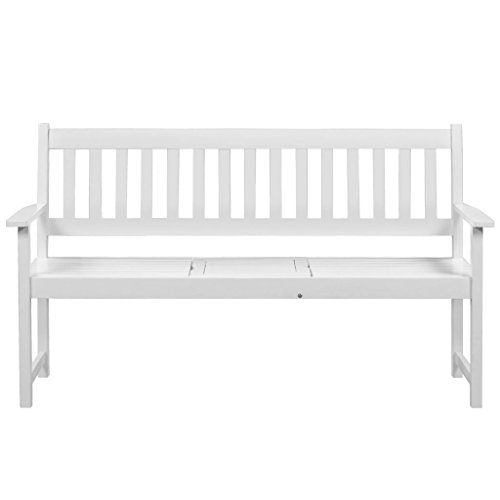 Festnight Gartenbank Sitzbank Parkbank mit Klapptisch Weiß Akazienholz - 5