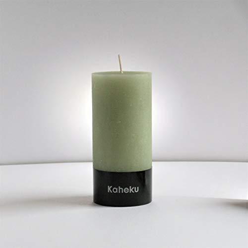 Kaheku Rustik Stumpenkerze Cylinderkerze grün Salbei durchgefärbt d7 h15 cm