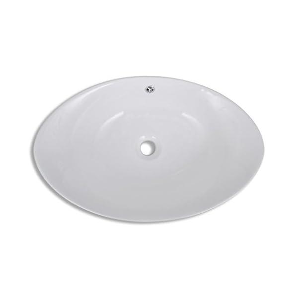 vidaXL Lavabo Ovalado Agujero Grifo y Desbordamiento Cerámica Blanco Lavamanos