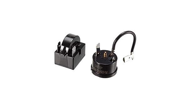 Sourcingmap K/ühlschrank-Starterrelais Kompressor-Thermo-/Überlastschutz 15 Ohm 3 Pin Starter Overload Protector