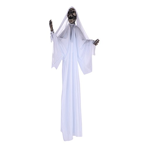 (Halloween kostüm mit Kapuze Maske Dämon Teufel zombie Fasching Unisex für Damen und Herren Jungen Jugendliche Halloween Mantel vampir umhang für Karneval Party Erwachsener Cosplay Schwarz und Weiß)