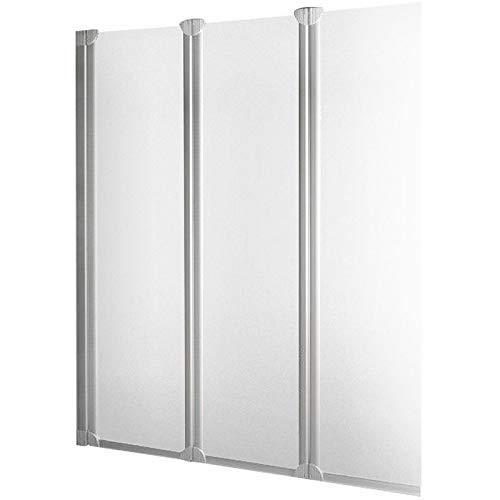 Schulte pare baignoire rabattable, paroi réversible, écran de baignoire plian, 3 volets pivotants, verre transparent, 124x130 cm