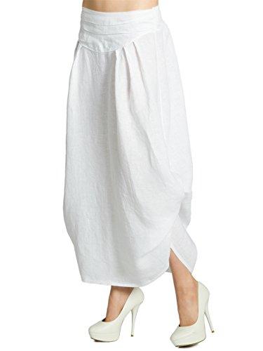 Weiße Zigeuner Rock Lange (CASPAR RO016 leichter langer Damen Leinenrock / Sommerrock / Maxirock zum seitlichen Hochbinden, Farbe:weiss;Größe:One Size)