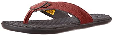 Cat Men's Cory Red Dahlia Leather Hawaii Thong Sandals - 6 UK
