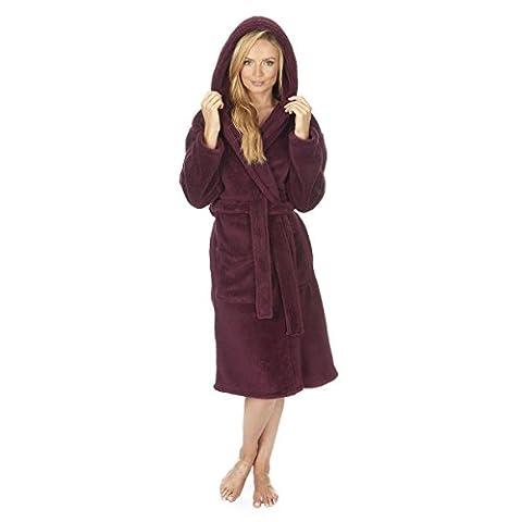Ladies Women's Soft Flannel Fleece Hooded Snuggle Dressing Gown Robe Nightwear