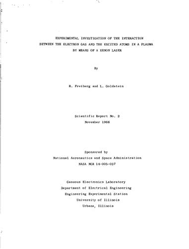 Experimental investigation of the interaction between the electron gas and the excited atoms in a plasma by means of a xenon laser (English Edition)