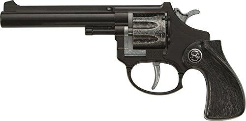 J.G.Schrödel R88: Spielzeugpistole für Zündplättchen, robuste Qualität aus Zink und Kunststoff, für 8-Schuss-Munition, 18 cm, schwarz (101 2881) -