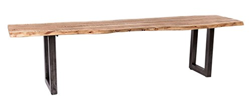 Wolf Möbel® Stilvolle Sitzbank Live edge aus Akazien-Holz, naturbelassene Optik mit einer Baumkanten-Oberfläche, Bank mit Metallbeinen aus Roheisen, sandfarben gebürstet, 160 x 38 cm