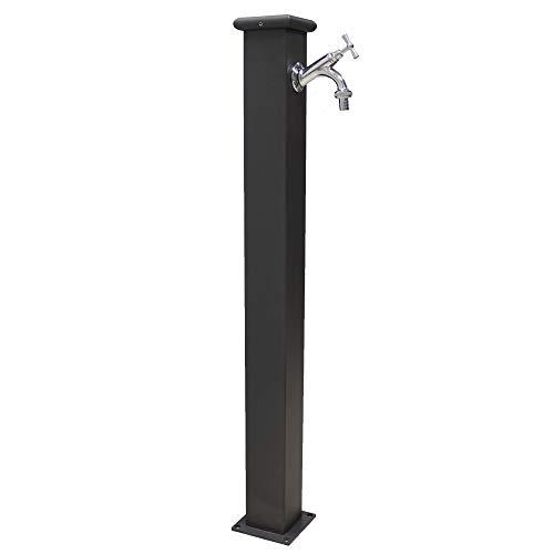 Fontana a colonna in acciaio con rubinetto per esterno casa giardino modello olimpia colore grigio ghisa completa di rubinetto 303 in ottone cromato