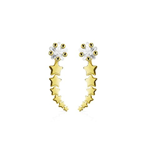 beyoutifulthings 1 Paar Ohrklemmen STERN-SCHNUPPE 16 x 3mm Set Damen Ohringe Ohr-ringe Ohr-clip Ohr-stecker Chirurgenstahl Silber Gold Roségold