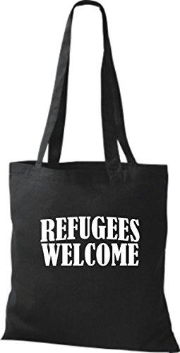 bdd8fdde8f Refugees willkommen Stoffbeutell Welcome Bleiberecht viele Shirtstown  Farben Schwarz Flüchtlinge afwUq1Ug
