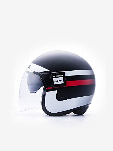Casco Pod Stripes Black-White-Red Matt M