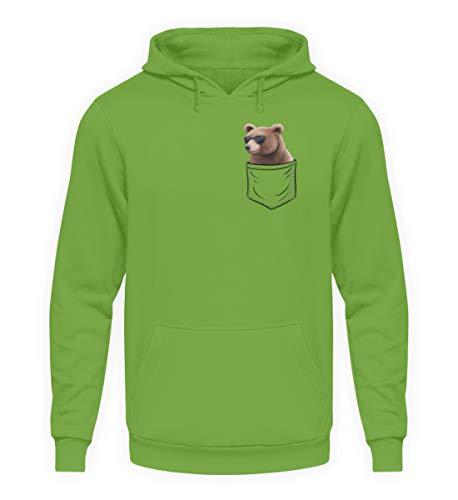 Brummiger Cooler Grizzly Bär in der Tasche | Für Brummbären und gemütlich bärige Typen - Unisex Kapuzenpullover Hoodie -S-LimettenGrün