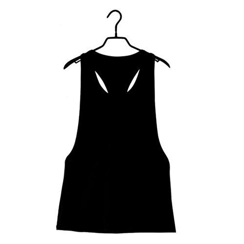 Italily - Estate delle donne allentato Palestra Sport Training Vest Run serbatoio Nero