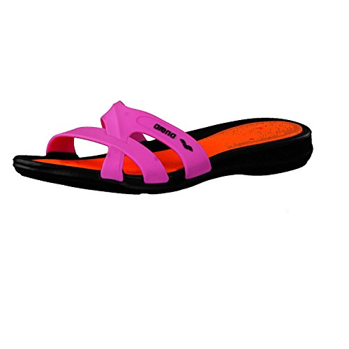 arena Damen Badelatschen Athena 80680 Black/Orange/Fuchsia 37 - Athena-bad