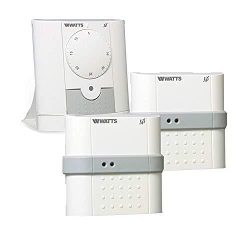 Raumthermostat + 2x Unterputzempfänger Wandthermostat Raumregler Weiß Analoges