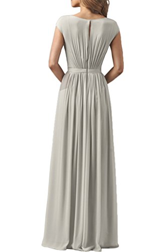 Sunvary Damen Rund Chiffon Kurzarm Abendkleider Bodenlang Promkleider Festkleid Neu Silver