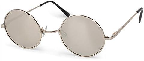 styleBREAKER runde Sonnenbrille mit schmalem Metall Gestell, Retro Design, Bügel mit Federscharnier, Unisex 09020065, Farbe:Gestell Silber / Glas Silber