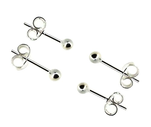 925 Sterling Silver Plain Ball Stud Earrings| 3mm-6mm | Style: 925 Silver Finish | Size: 3mm (Two Pairs)