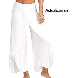 Mujer Pantalones Anchos Palazzo Alta División para Yoga Danza Ganduleado Fitness Pilates Blanco S