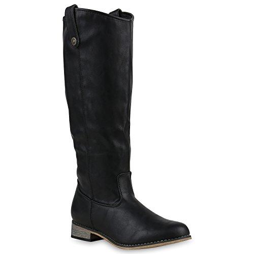 Stiefelparadies Damen Reiterstiefel Cowboystiefel Leder-Optik Gefütterte Stiefel Metallic Blockabsatz Schuhe Schnallen Lack Boots Fransen Flandell Schwarz Glatt