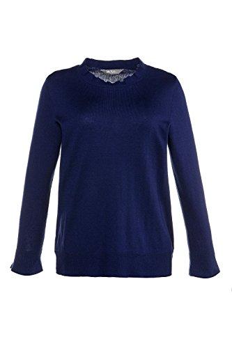 Ulla Popken Femme Grandes tailles Pull en maille oversize à manches longues col V 713502 bleuet