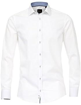 VENTI Slim Fit Hemd super langer Arm mit blauem Patch weiß AL 72