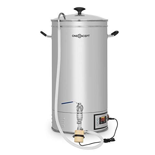 Oneconcept Hopfengott Bollitore - Dispositivo per Produzione Birra, Sistema di Infusione, 30 L, 30-140 ° C, 500-2500 W, Pompa di Circolazione, 4 Fasi Programmabili, Acciaio Inox, Argento