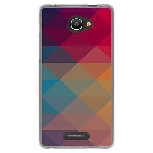 BJJ SHOP Transparent Hülle für [ Alcatel Pop 4S ], Flexible Silikonhülle, Design: Mehrfarbige Pyramidenformen