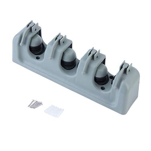 HIUGHJ Reinigungswerkzeug Küche Wand Kleiderbügel Lagerregal 3-5 Position Küche Mopp Pinsel Besen Organizer Halter Werkzeug, 3 Racks Besen 3