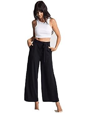 SYGoodBUY Pantalones Flúidos para Mujer de Gran Tamaño Chic Pantalones Anchos Elegantes con Cinturón de Verano