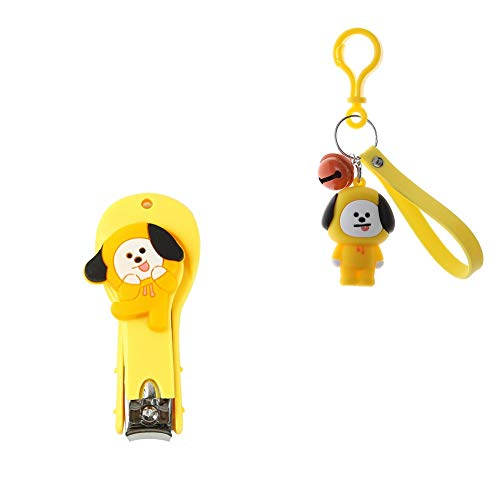 KroY PecoeD Kpop BTS Bangtan Boys Cute Cartoon Nail Clipper Fingernail Toenail Clipper Stainless Steel Nail Clippers with Cute BTS Cartoon Keychain BTS Key Ring(Chimmy) (Nail Clippers Cute)