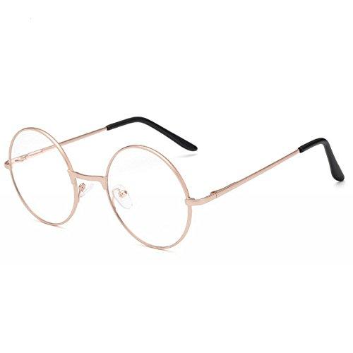 ProProCo Fashion Brille ohne Stärke für Damen und Herren Unisex Transparente Fashion Brille Nerd Brille (Gold)