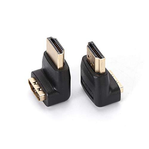 Q4Tech HDMI 90 Grad Adapter. HDMI HD Stecker auf Buchse abgewinkelt Adapter. Rechtwinklige HDMI-Anschlüsse. 2 Stück. Weiblich 90-grad-adapter
