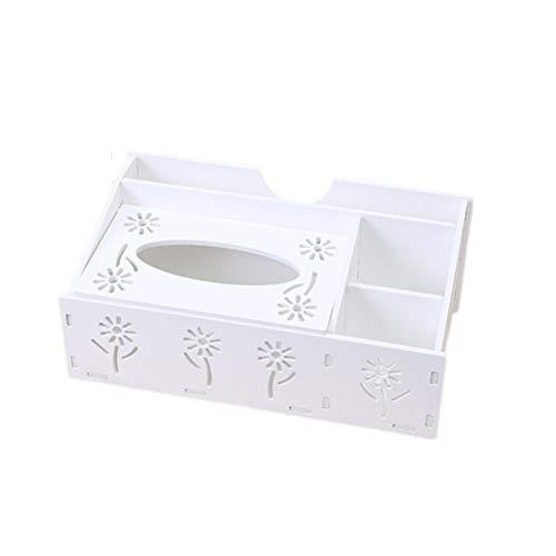 VORCOOL Multifunktionaler Desktop Organizer Fernbedienung Halter Bleistift Schere Container Tissue Box (Weiß) (Desktop-bleistift-organizer)