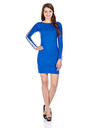 Miss Chase Women's Bodycon Dress (MCPF13D02-06-31_Cobalt Blue_Small)