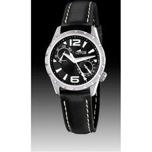 Lotus 15659/1 - Reloj analógico de mujer de cuarzo con correa de piel negra - sumergible a 50 metros