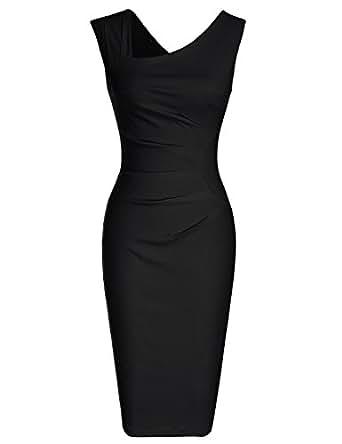 MUXXN Robe Crayon De Cocktail Jupe Mariage Femme Vintage Pin Up Robe M Black