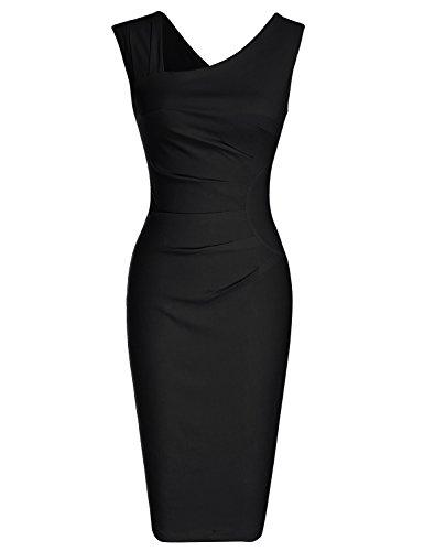 Vor Schulterzucken (MUXXN Damen Bleistiftkleid V-Ausschnitt Etuikleid Ärmellos Knielang Retro Abendkleid Business Kleid(2XL, Black))
