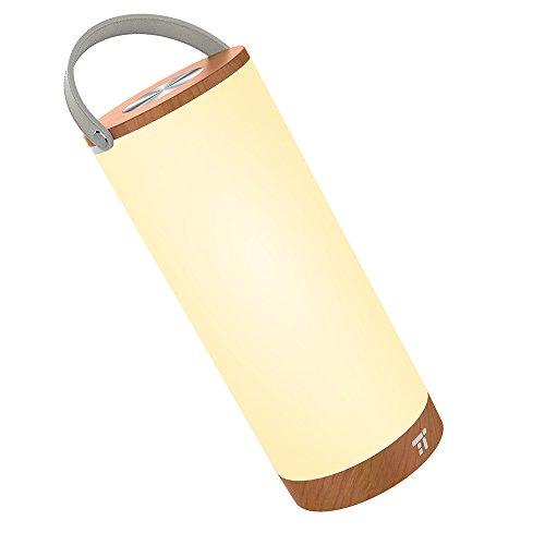 Tischlampe LED vintage TaoTronics Holz Optik Nachttischlampe 3000K Warmweiß stufenlos dimmbar Touch Bedienung kabellos batteriebetrieben mit 4000mAh Akku Merkfunktion Ein-Griff tragbar - Laterne Led-vintage