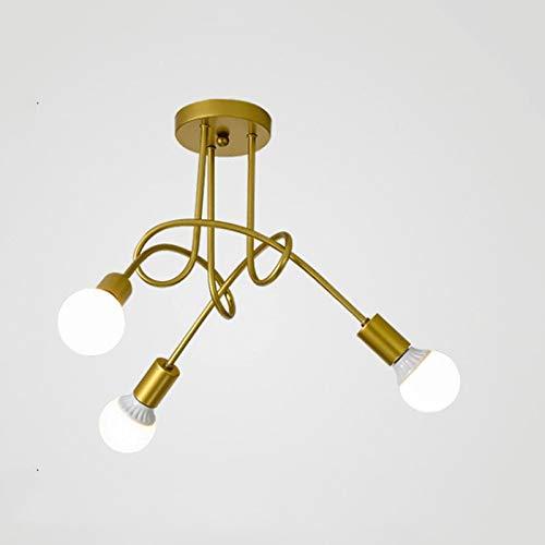 Chuen Lung Industrielle Lampe Deckenleuchter Metall Messing & Schwarz kreatives Design Decorative Dekorative Beleuchtung der High-End-Möbel (Farbe : Gold, größe : Three Heads) - Sechs Lampen Bad Möbel