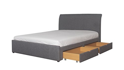 5ft Kingsize Grey Fabric Upholstered Storage Bed Frame With 4 x Drawers