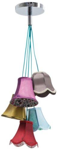 Hängeleuchte Saloon Flowers 5, moderne Pendelleuchte im Retro-Stil, Design Wohnzimmerlampe mit bunten Lampenschirmen und Blumenmuster, Landhausstil, (H/B/T) 92x45x45cm