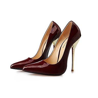 Moda donna sexy sandali Scarpe Donna 14cm Altezza tacco Sexy punta appuntita Stiletto di metallo pompe tacco Scarpe da parte di più colori disponibili Burgundy