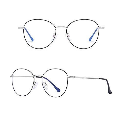 Yiph-Sunglass Sonnenbrillen Mode Runde Metallrahmen-Agio-Computer-Lesebrille Blau Swooning und Blendung Keine Vergrößerung Brille Anti-Eyestrain-Gläser für Männer und Frauen (Farbe : Black Silver)