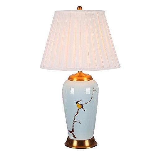 XLTDMF Keramik Tischlampe, Hand bemalt Keramik Tischlampe Schlafzimmer Nachttischlampe Villa Lampe Ehe Zimmer Nostalgische Tuch Tischleuchte Leuchten E27 Lampenfassung High 65~75cm - Hand Bemalte Keramik Lampe