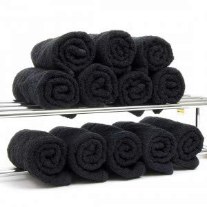 Towelsrus asciugamani per parrucchieri in nero (reactive dyed, pack of 12)