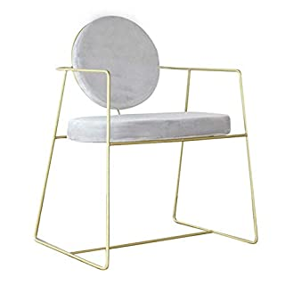 C.N. Nordic Wrought Iron Lounge Chair Cafe Tea Shop Net Red Chair Hotel Simple Backrest Chair,Gold,1