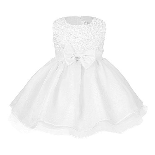 Tiaobug Baby Kleid für Mädchen weiß Taufkleider - baby festliche Kleider für Hochzeit Kommunionkleider 6-24 Monate Weiß 68-74